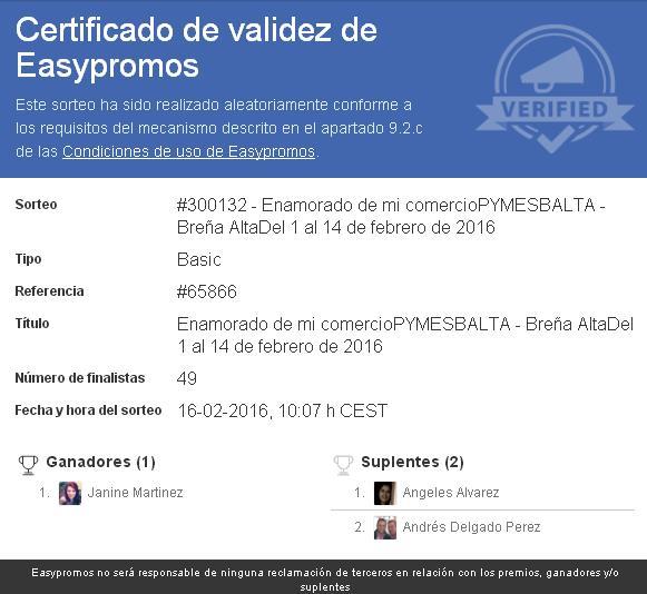 certificado ganadora